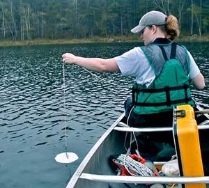 Citizen Volunteer monitoring lake quality.