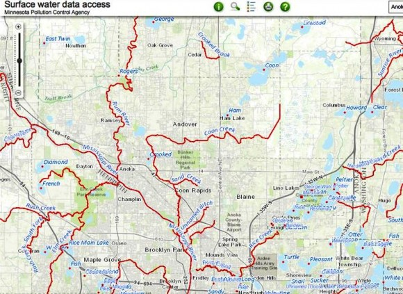 Part of Anoka County displayed in the Impaired Waters Viewer (IWAV)
