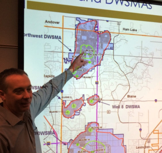 Stefan Higgins (Blaine Assistant City Engineer) indicating the Drinking Water Supply Management Area for wells in the northwest quadrant of the City.